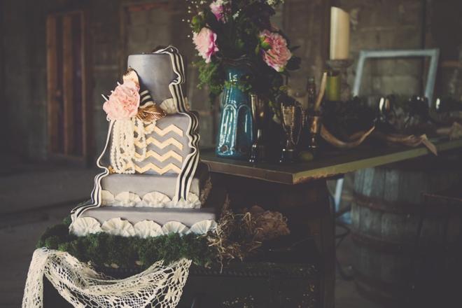 Gray and gold chevron cake