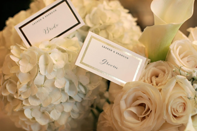 Bride and groom seating cards