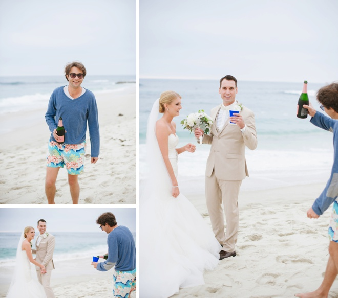Random passer-by offers the couple some champagne to celebrate!