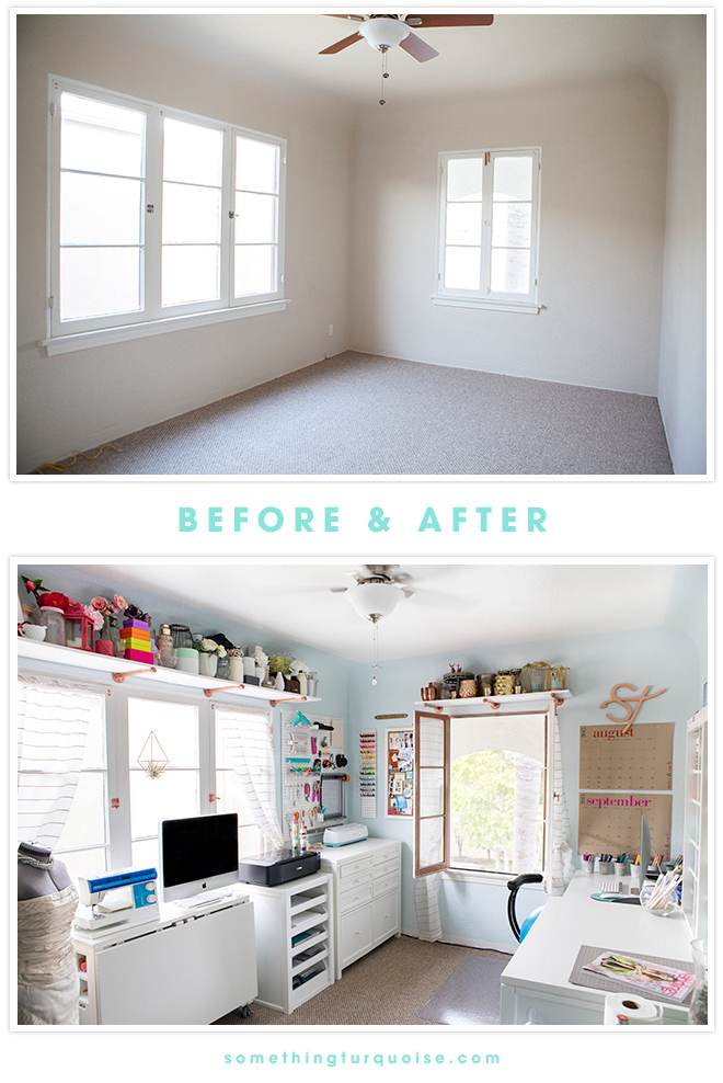 Something Turquoise Craft Room + Blog Office, Before and After