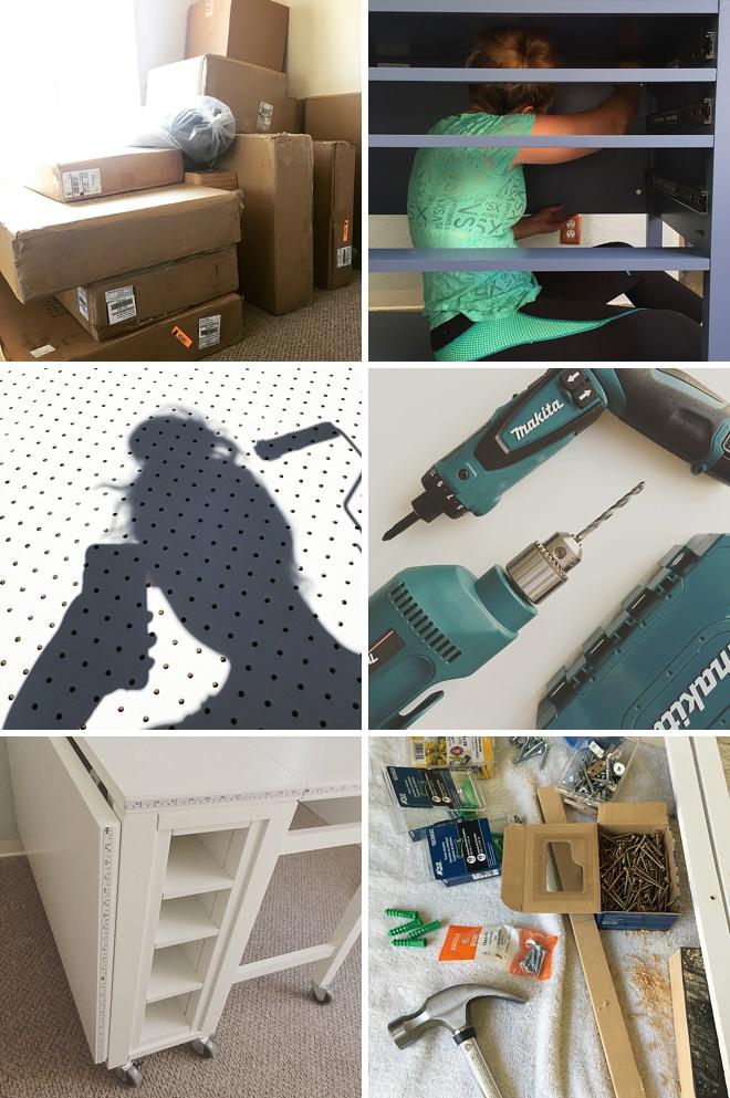 iPhone snaps of Jen building her Martha Stewart Craft furniture!