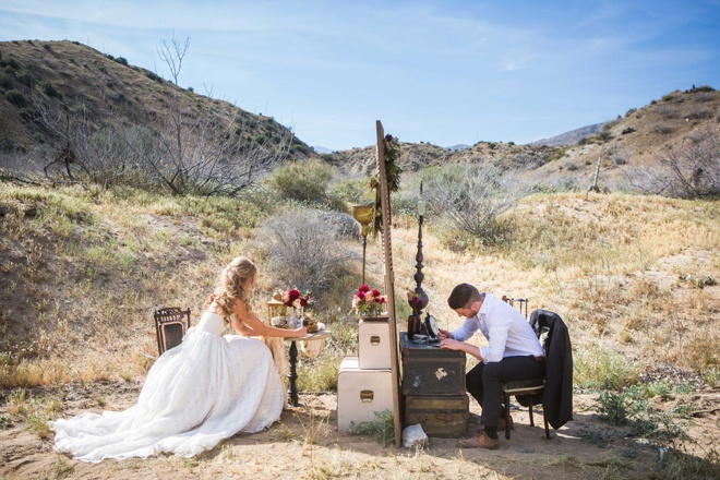 Bride and groom writing letters to each other!