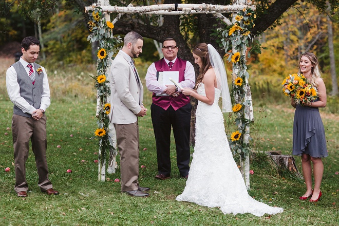 Reading Their Own Hand Written Vows! Sweet!