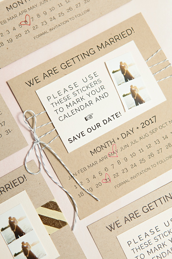 DIY Save the Date invitations with custom calendar stickers - free printables!