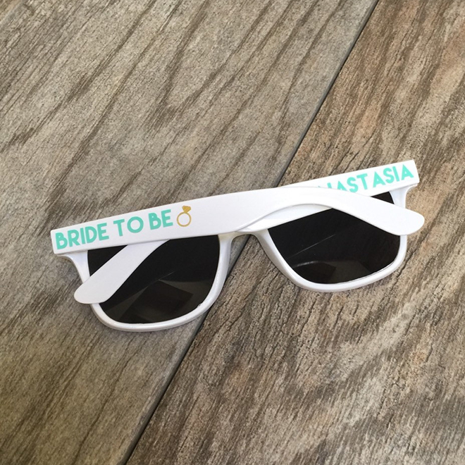 Personalized bride sunglasses, awesome bride-to-be gift!