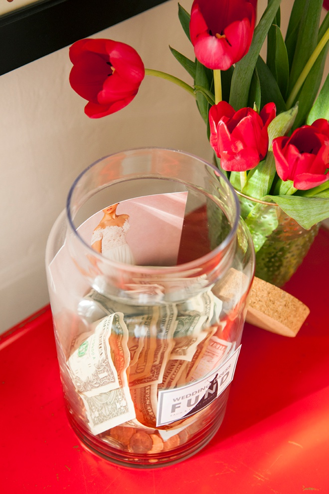 This Wedding Dress Fund Jar is easy to make and has free printables!