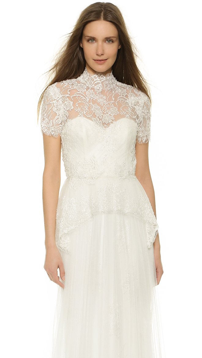 the details on this Marchesa peplum top are stunning and can be worn over a dress to add a perfect amount of coverage