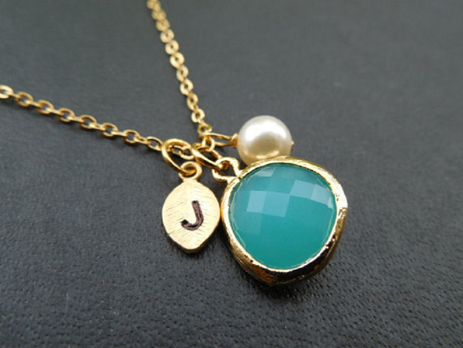We love this monogramed necklace as a keepsake and your something blue!