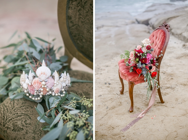 We can't get over this bright pink bouquet or this sea shell crown at this styled mermaid wedding!