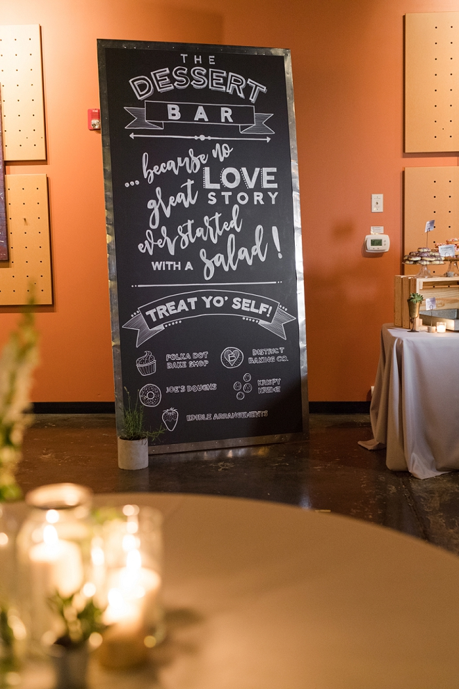 We love this hilarious hand lettered chalkboard sign for this couple's late night dessert wedding!