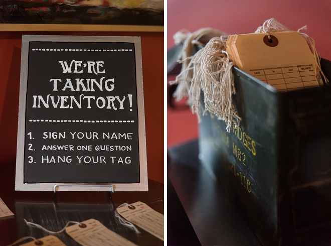 How cute is this inventory guest book idea? We love it!