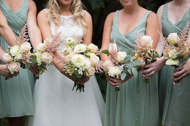 Sweet snap of the Bride and Bridesmaid's stunning bouquets!