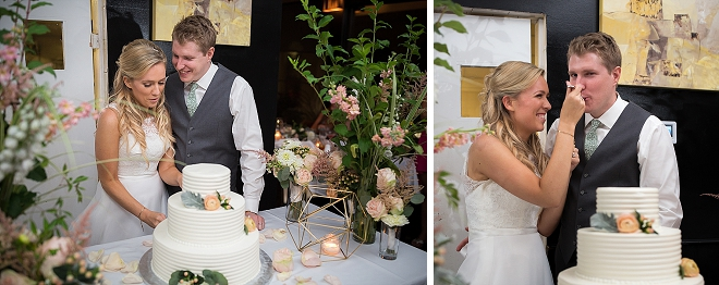 Sweet snap of the new Mr. and Mrs. cutting the cake!