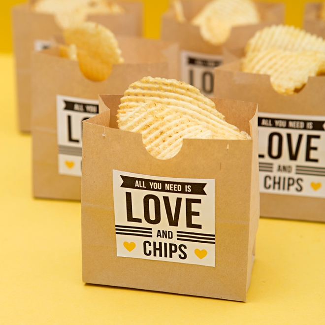 All you need is love and chips... such a cute DIY late night wedding snack idea!