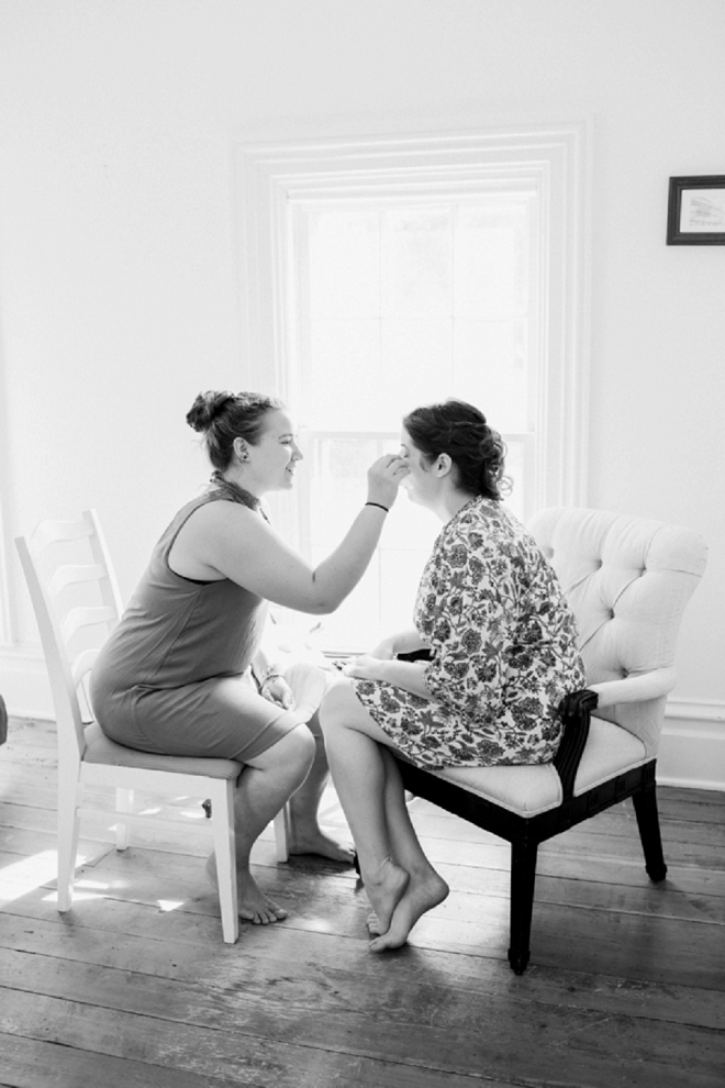 The beautiful Bride getting ready before the ceremony!