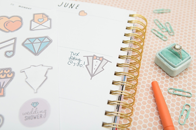 Print and cut these darling wedding planning stickers for free!