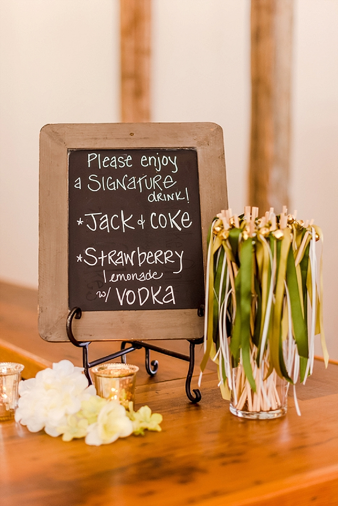 Check out this couple's bar and cute signage!