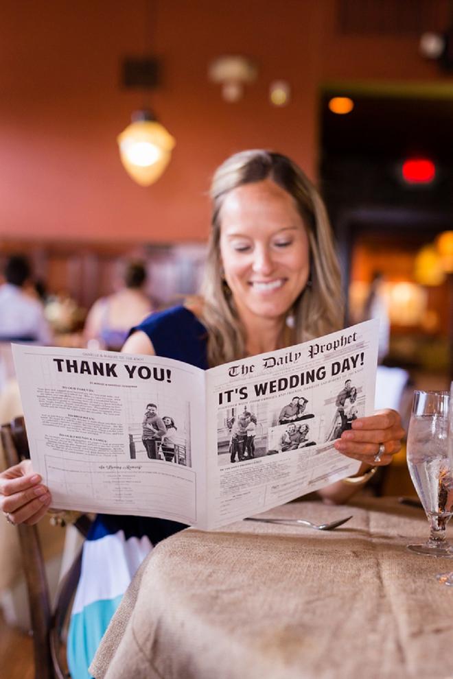 We're loving this Bride's wedding programs styled like newspapers!