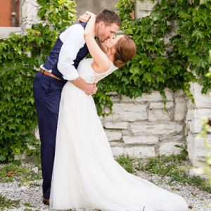 Crushing on this darling Mr. and Mrs. and their gorgeous breakfast wedding!