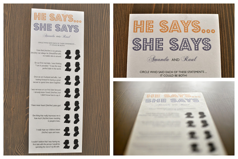 Free wedding printable: he Says She Says wedding game. I've never played this before but it looks fun!