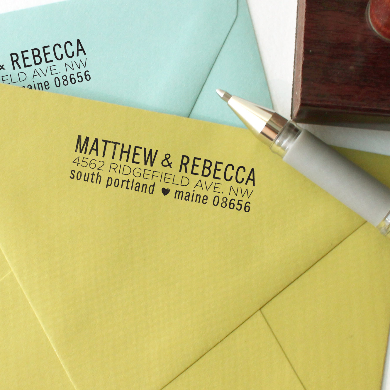 Custom return address stamp from The Catty Press