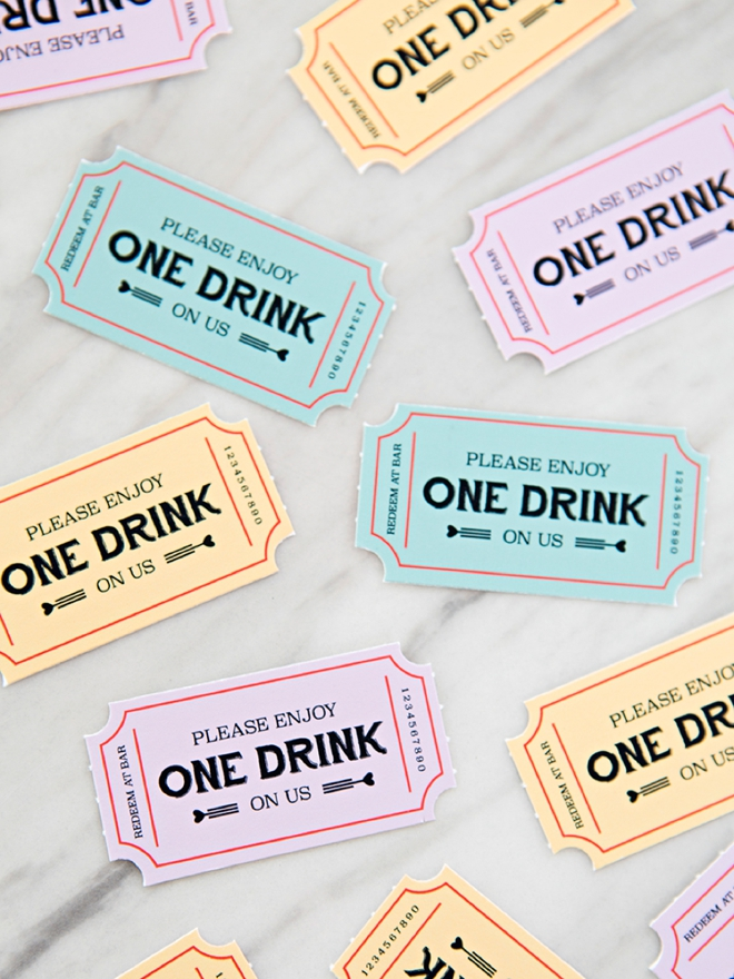 These FREE Printable Wedding Drink Tickets Are SO Freaking Cute! - printable ticket paper