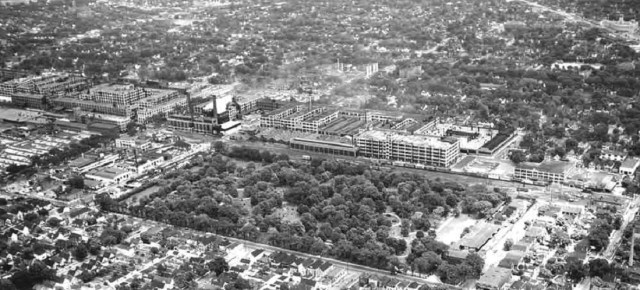 Vintage aerial view of Packard Factory