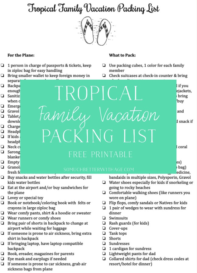 Tropical Family Vacation Packing List (Free Printable) So Much
