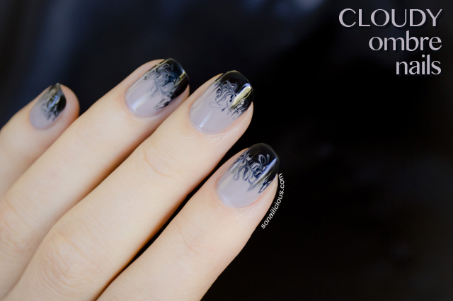 Black And White Marble Wallpaper Cloudy Ombre Nails 28 Days Of Sonailicious Nails Day 19