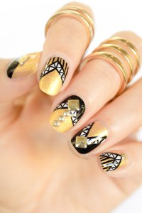 Armoured Black and Gold Nails With Studs