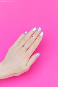 Simple Silver Nail Art For Short Nails - Day 1