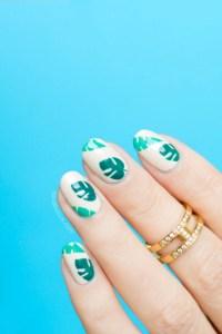 tropical nails, palm leaves nail art - SoNailicious