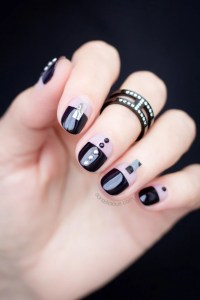 black nail design, black nails - SoNailicious