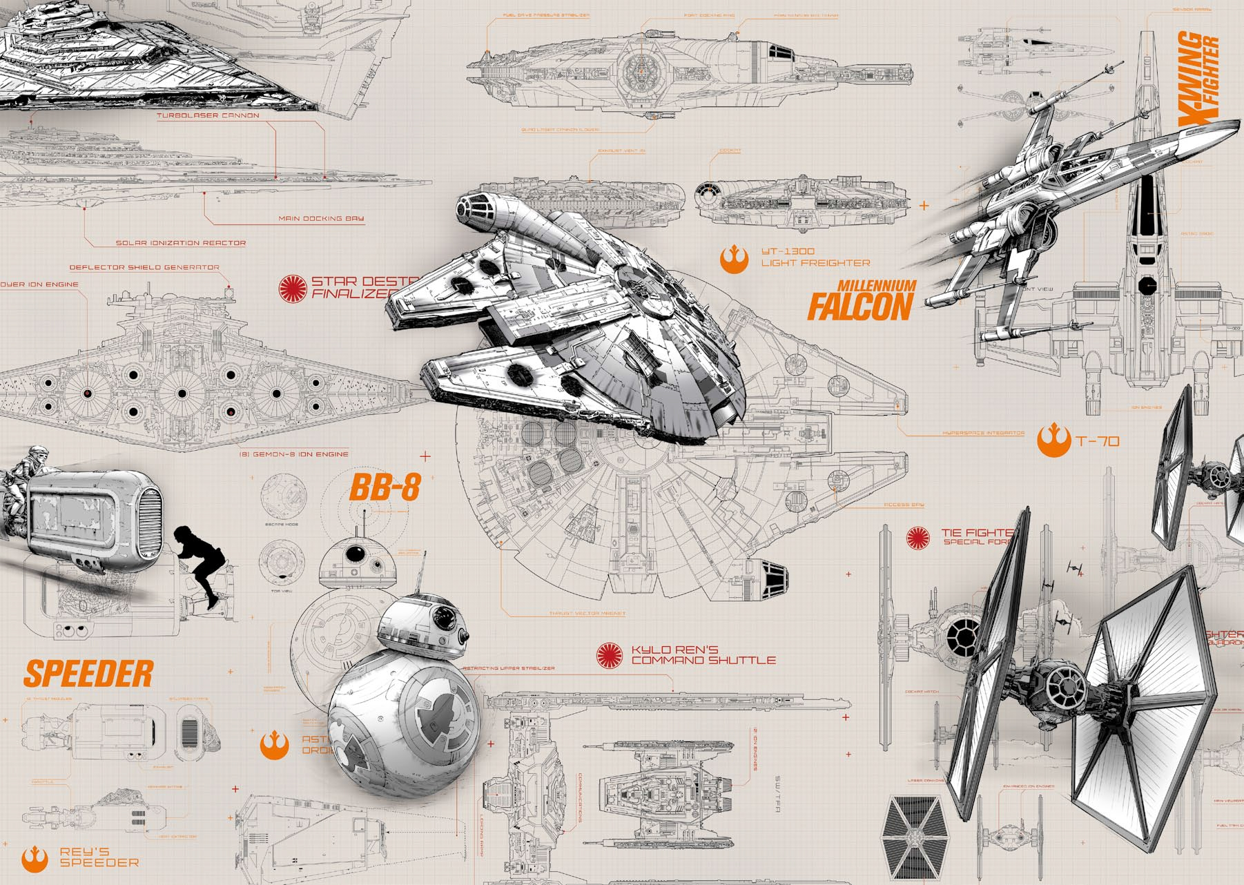 Tapisserie Mickey Finest Poster Xxl Star Wars Blueprints Panoramique Komar