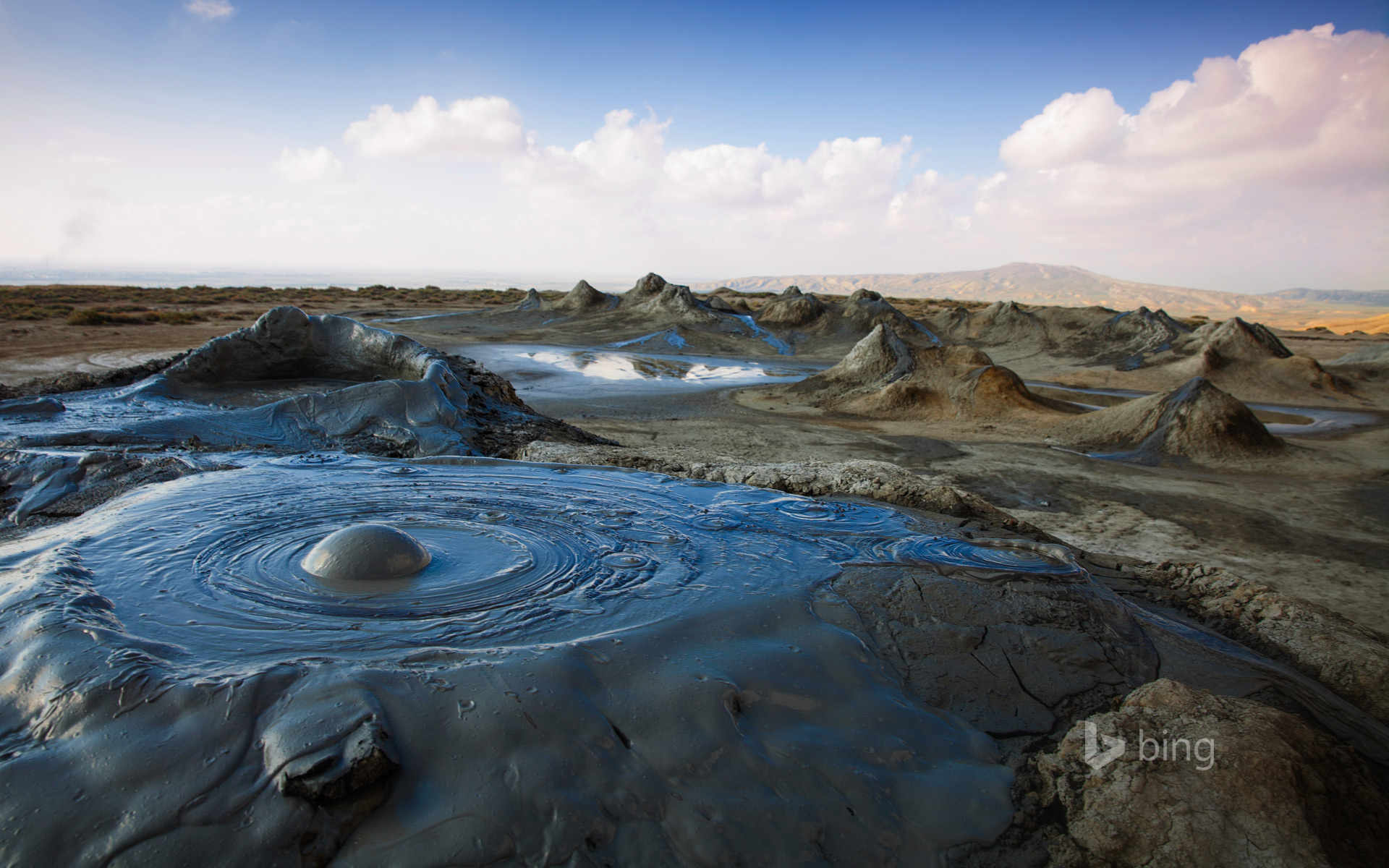 Sky Hd Wallpaper Mud Volcanoes In Gobustan National Park Azerbaijan