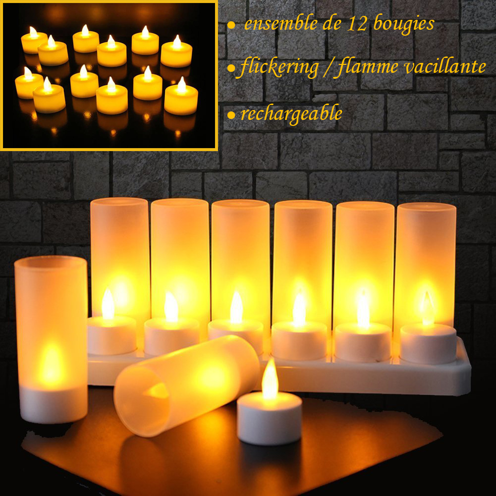 Bougie Led Rechargeable 12 Bougies Rechargeables à Del Avec Flammes Vacillantes Ambre Lumière 12 Electronic Rechargeable Candles Tealights With Flickering Flames