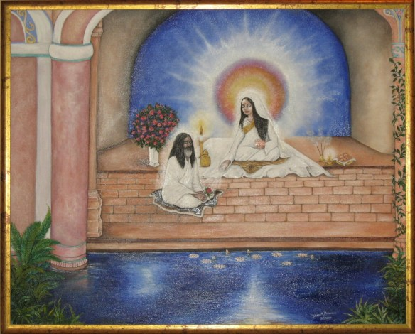 (C)2007 - DIANE ROUSSEAU - Divine Mother with Maharishi - Oil on Canvas - Reproduced with permission