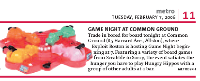 Exploit Boston Game Night tidbit in the Boston Metro newspaper