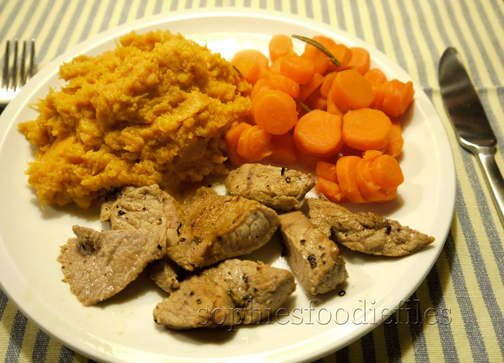 Marinated veal escalopes with a sweet potato mash and rosemary scented carrots (1/6)