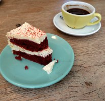A red velvet cake for Peter & an Americano coffee!