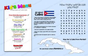 Kid's menu for Cuban concept restaurant