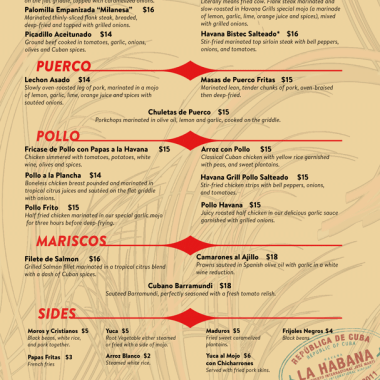 Cuban Restaurant Menu – Final Design