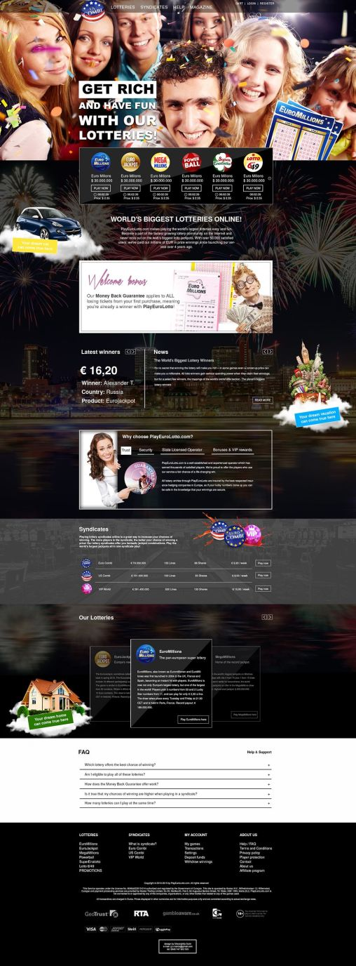 Lottery homepage layout