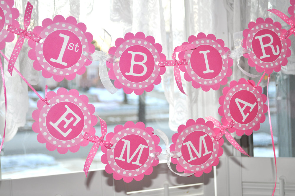 1st Birthday Banner \u2013 Polkadots Pink and White \u2013 Personalized with