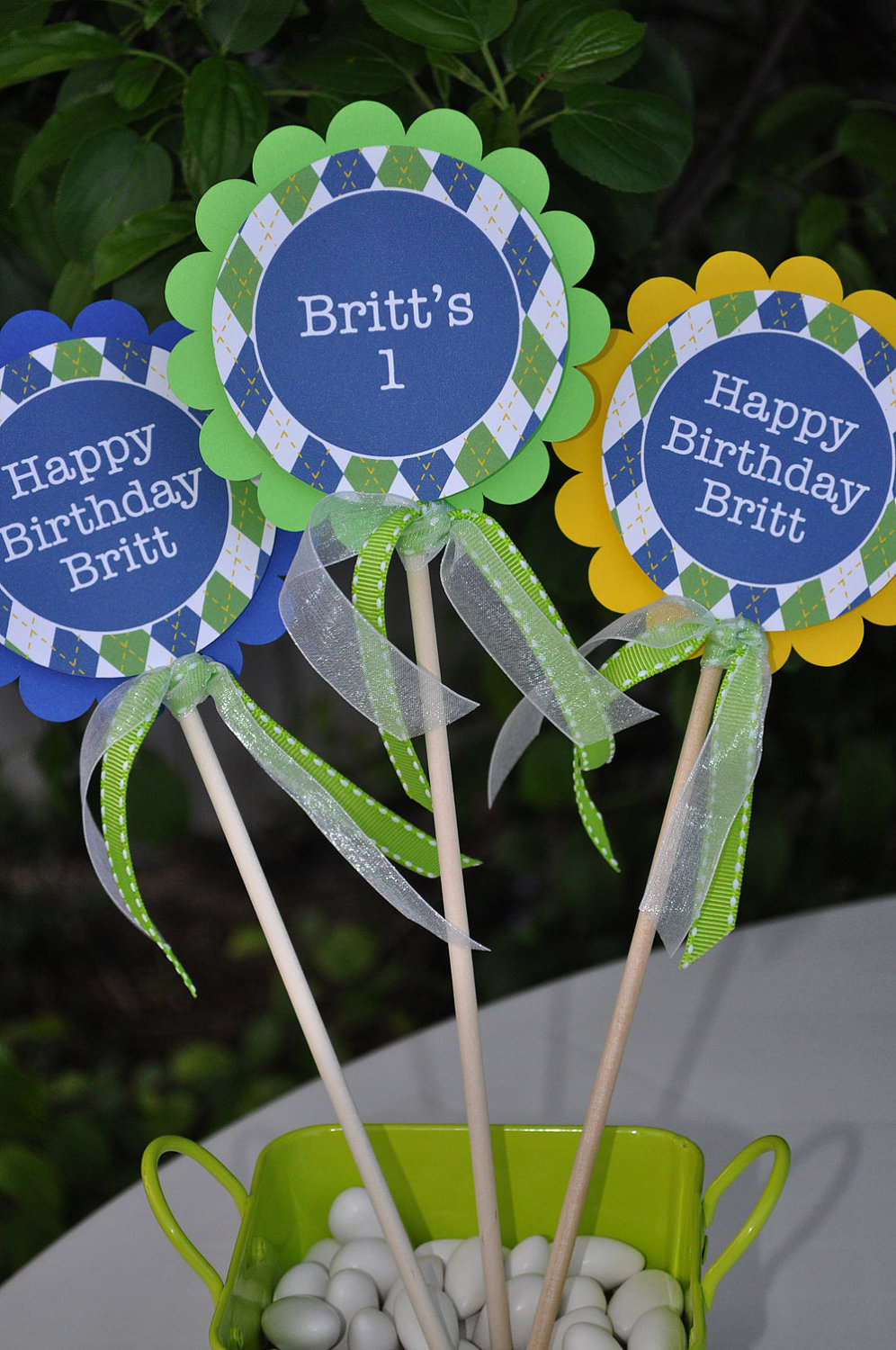 3 Boys 1st Birthday Centerpiece Decorations With Ribbon Blue And Green Argyle