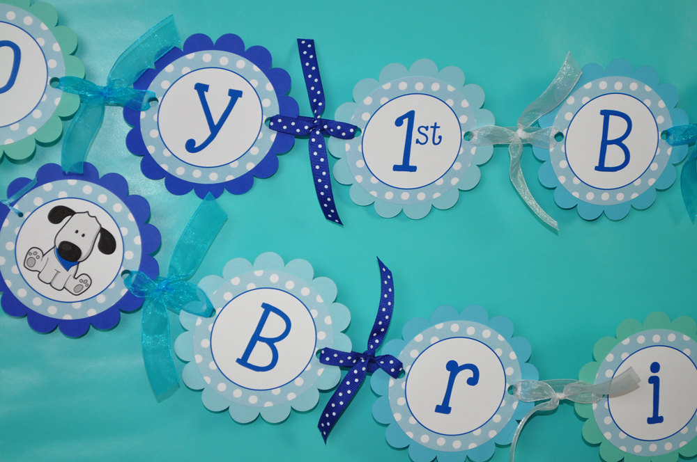 Boy\u0027s 1st Birthday Banner \u2013 Puppy Dog Birthday Party Decorations