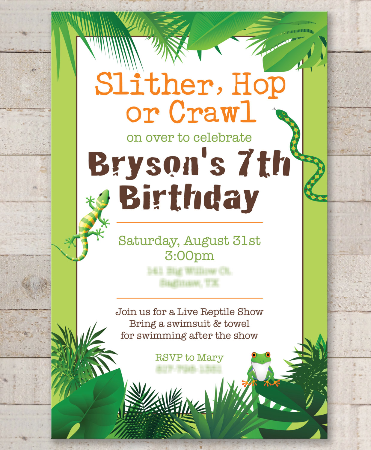 Décoration Safari Anniversaire Reptile Birthday Invitations Safari Jungle Bugs