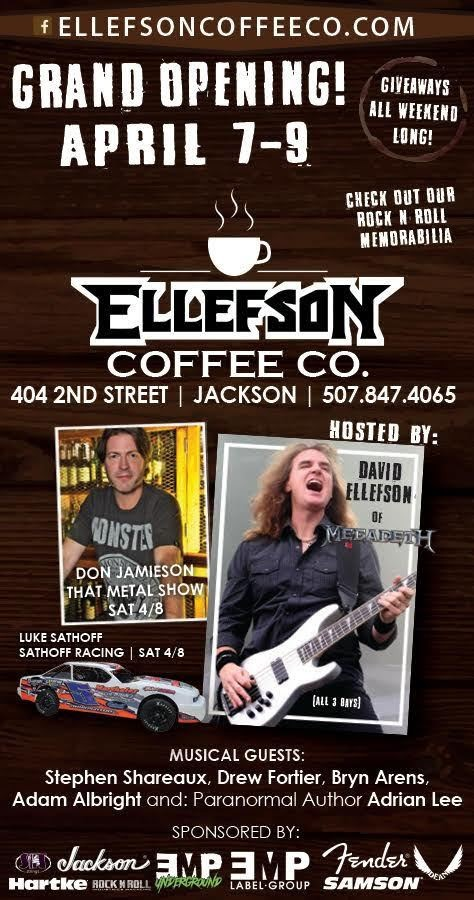 MEGADETH's DAVID ELLEFSON Talks To ROCK 108 About His ELLEFSON COFFEE CO. Brick-And-Mortar Store (Video)