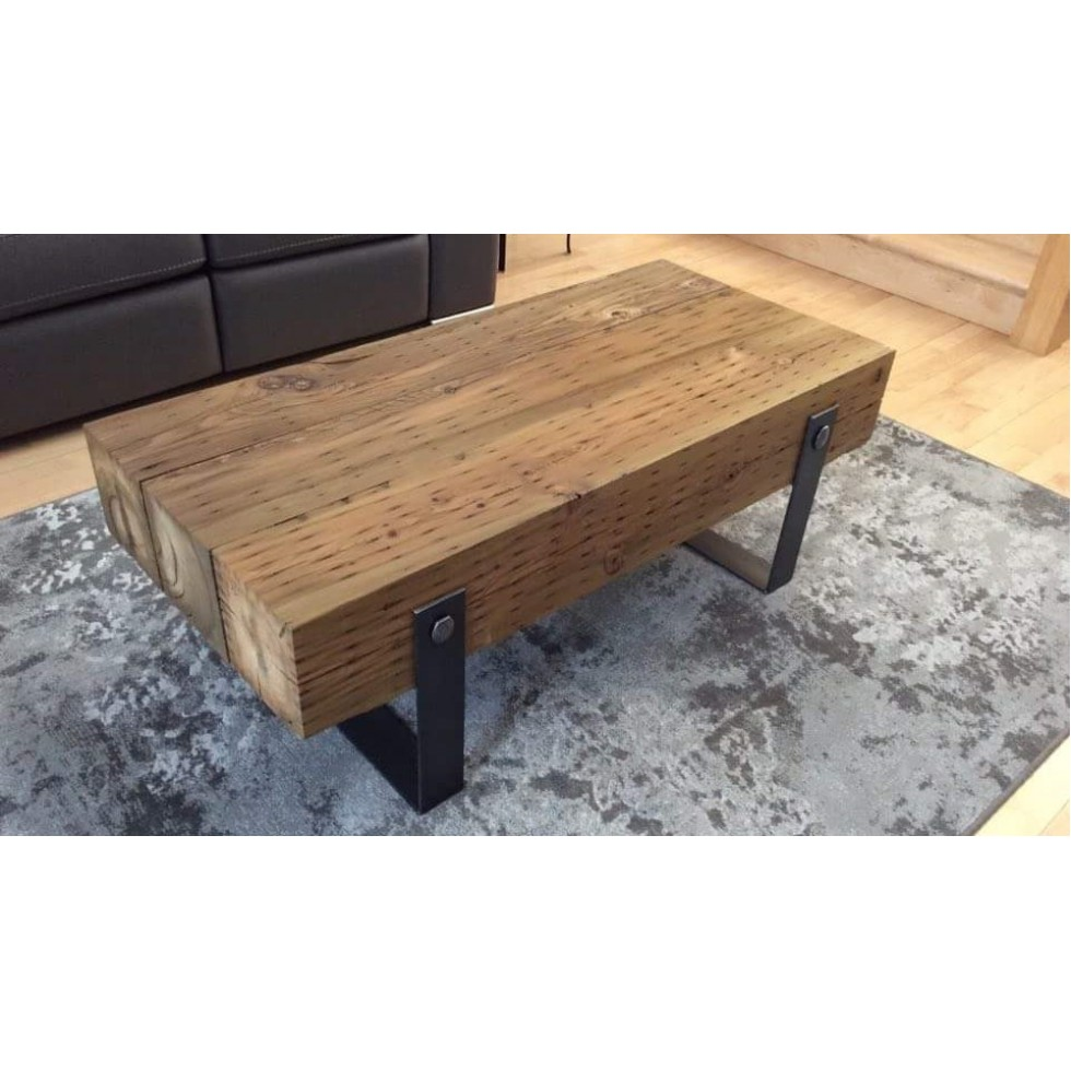 Table Salon Poutre De Bois Soudure Bess Design