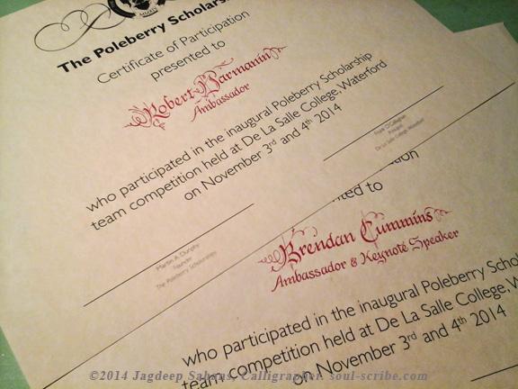 Presentation certificates, designed and inscribed - Soul Scribe